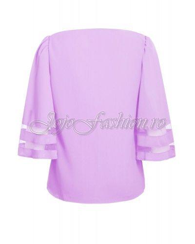 Bluza vaporoasa lila cu insertii din tul si maneci trei sferturi Fadia