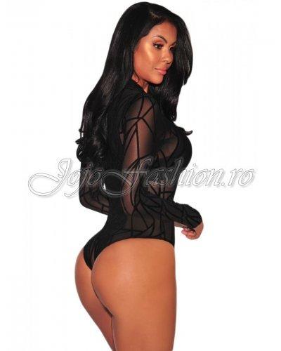 Body negru transparent cu imprimeu Velvet