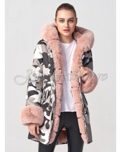 Geaca de dama parka army print cu blanita roz Edith