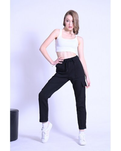 Pantaloni dama casual negri cu buzunare laterale Ereny