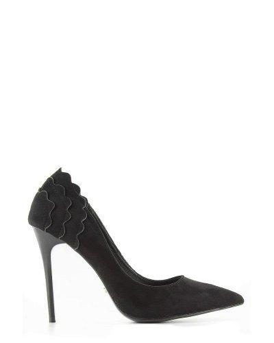 Pantofi eleganti piele eco intoarsa neagra Alina