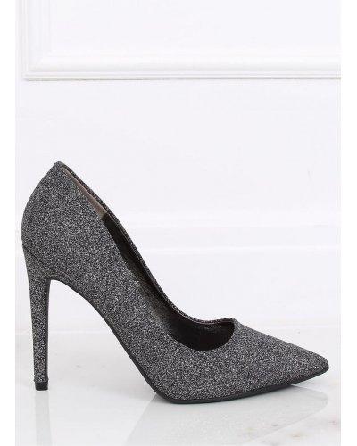 Pantofi stiletto gri cu sclipici si toc subtire Katja