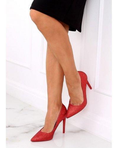 Pantofi stiletto rosii sclipici Katja