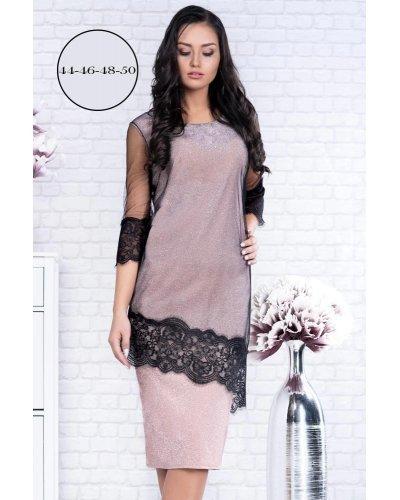 Rochie de ocazie XXL din lurex roz pudrat si tul negru Ramona