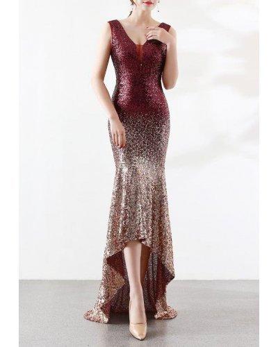 Rochie de ocazie asimetrica cu trena din paiete aurii si rosii Sirena