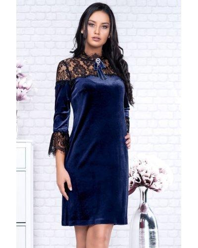 Rochie de ocazie din catifea bleumarin scurta Roxana