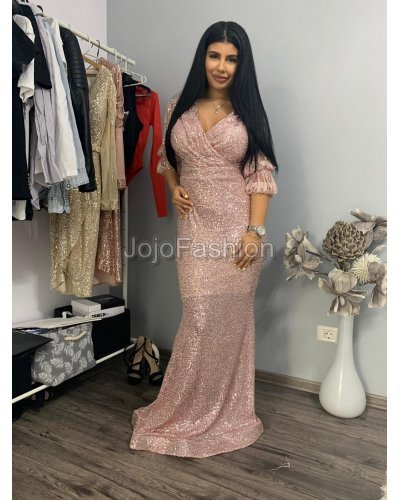Rochie de seara roz  tip sirena din paiete cu decolteu suprapus Missy