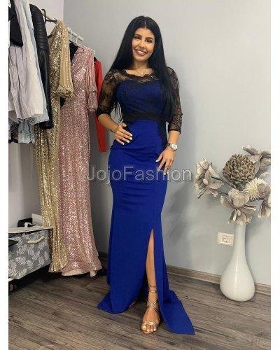 Rochie lunga albastra cu dantela neagra pe bust si maneci Sellina
