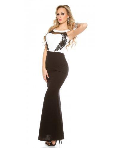 Rochie lunga neagra cu bustul alb Eva