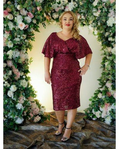 Rochie XXL de ocazie midi din paiete burgundy Doris