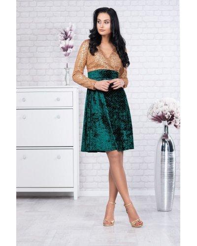 Rochie de ocazie din catifea verde si paiete aurii suprapusa Maggie