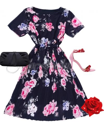 Rochie de ocazie midi vaporoasa plisata multicolora Ayse