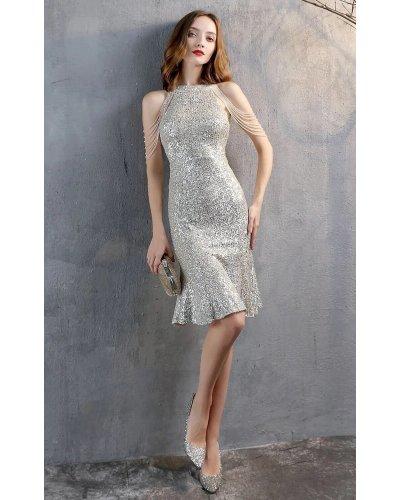 Rochie de seara midi din paiete argintii cu margelute Dalvina