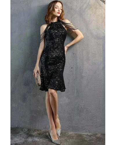 Rochie de seara midi din paiete negre cu margelute Dalvina