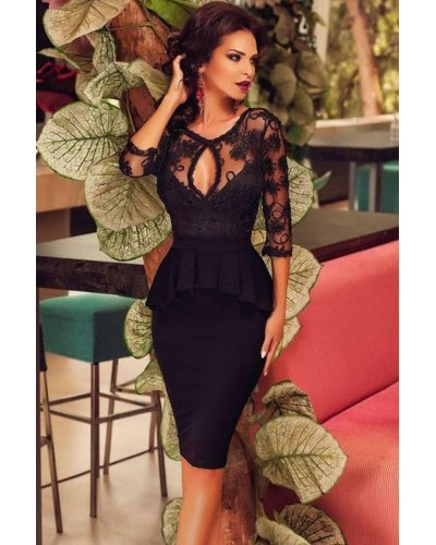 Rochie de seara neagra midi cu peplum si maneci lungi Monica