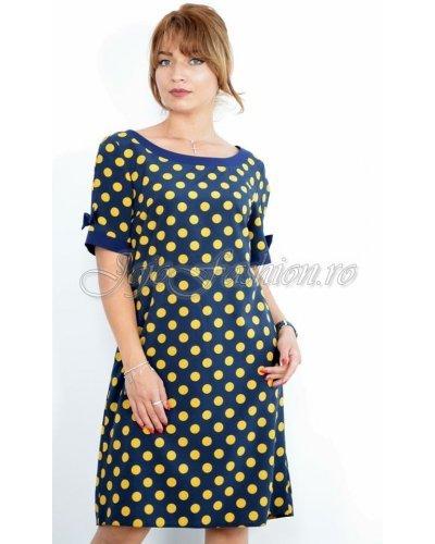 Rochie de zi midi bleumarin cu buline galbene Perla Donna Alberta