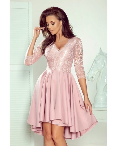 Rochie eleganta asimetrica roz Anastasia