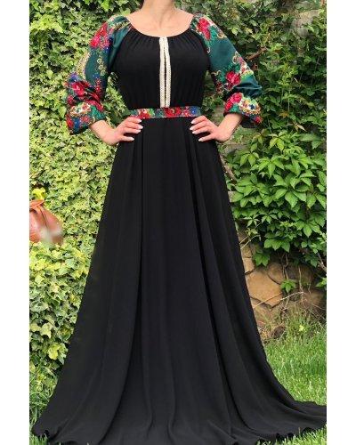 Rochie traditionala eleganta lunga voal negru Lyuba