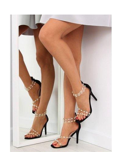 Sandale piele neagra eco toc subtire Vera