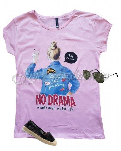 Tricou dama roz casual cu mesaj si imprimeu Alina