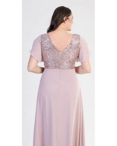 Rochie XXL lunga eleganta cu paiete roz Elmira
