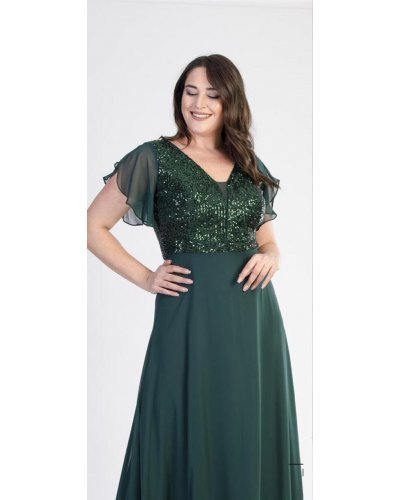 Rochie XXL lunga eleganta cu paiete verzi Elmira