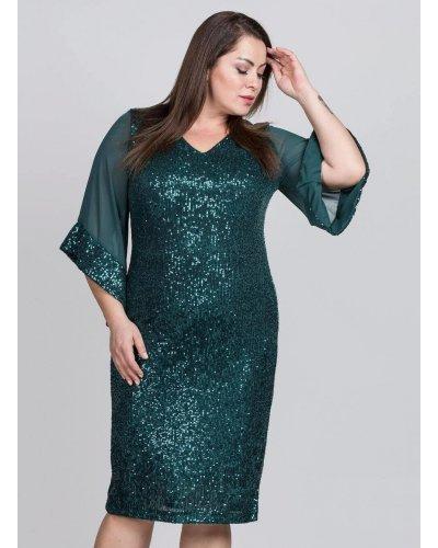 Rochie marime mare de seara din paiete verzi Bilona