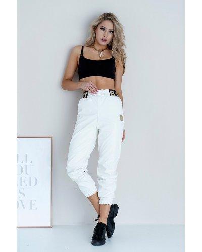Pantaloni dama albi piele eco Bicksy
