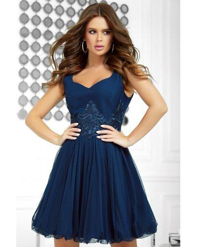 Rochie de ocazie eleganta bleumarin cu dantela si tull Helen