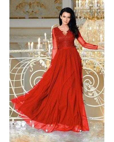 Rochie de seara eleganta lunga cu tull si broderie rosie Anabela