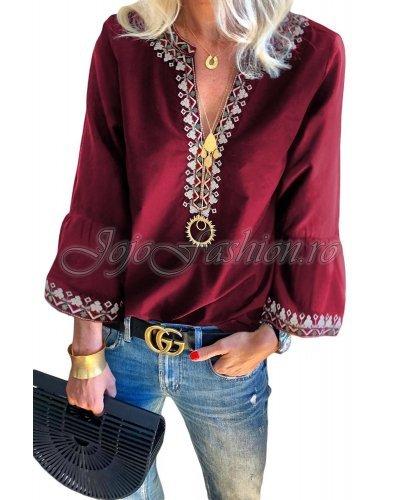 Bluza de dama bordo cu motive traditionale Faiza
