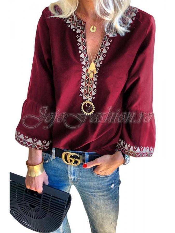 Bluza de dama bordo cu motive traditionale Faiza