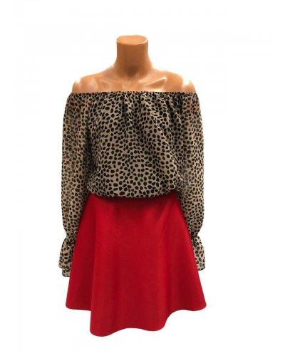 Bluza animal print leopard din voal cu maneci lungi Callie
