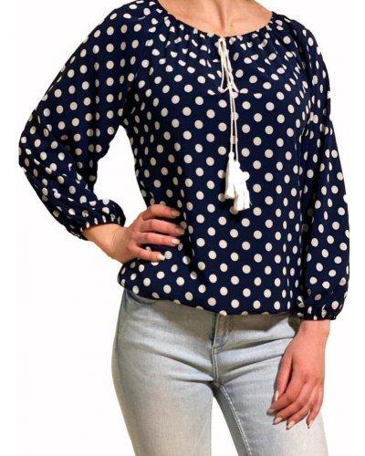Bluza dama bleumarin cu bulinute albe din voal Brenna