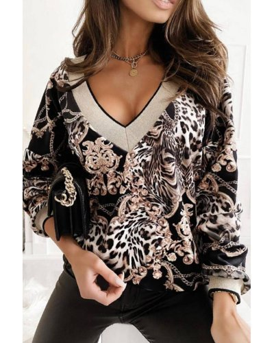 Bluza dama casual animal print leopard Nadina