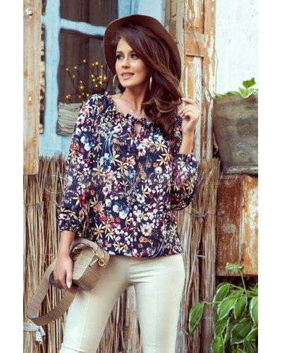 Bluza de dama cu print floral multicolor Milena