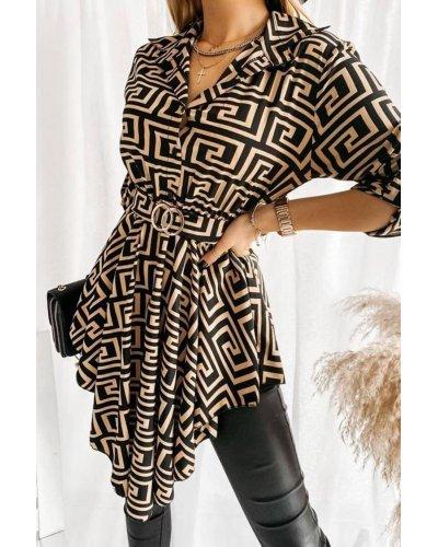 Camasa dama tip tunica neagra cu imprimeu galben asimetrica Baroc