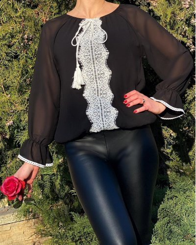 Ie dama vintage voal negru motive traditionale Marry