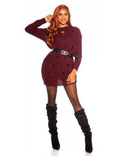 Pulover dama tricotat oversize bordo cu gauri trendy Michelle