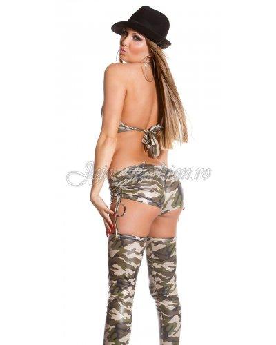 Top stil bustiera wetlook army print kaki Allyana