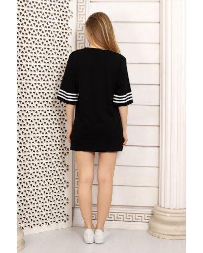 Tricou dama negru cu dungi albe sport Aleksandra