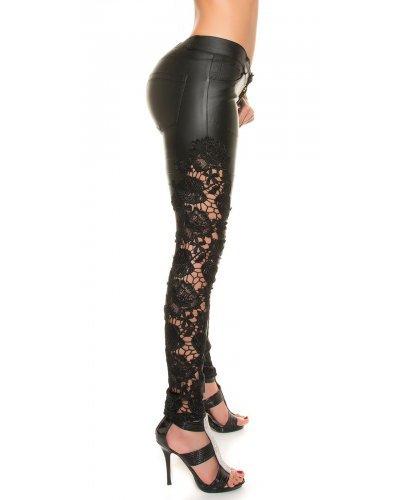 Pantaloni cu aspect de piele si dantela neagra Kira