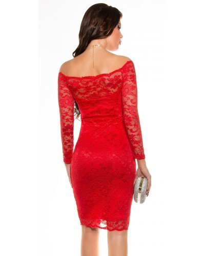 Rochie de seara midi din dantela rosie Gladys