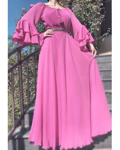 Rochie de ocazie eleganta din voal bombon cu volane Sheila