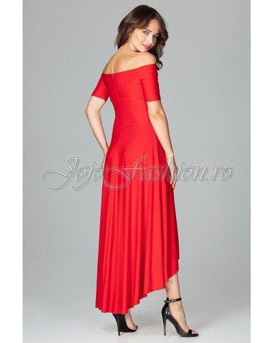 Rochie de seara asimetrica rosie cu trena Jolie