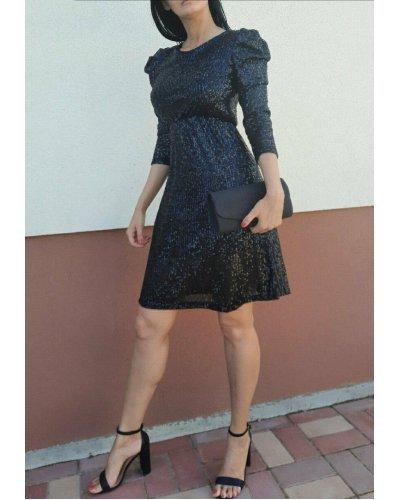 Rochie de seara din paiete negre cu maneci lungi Livya