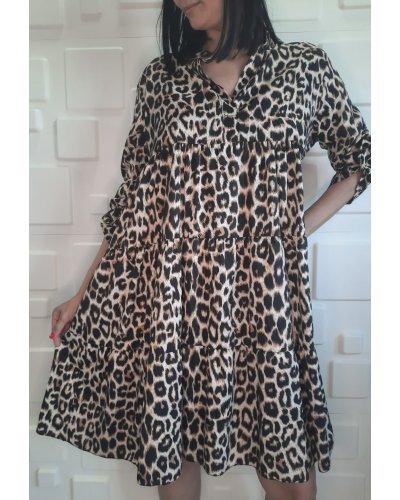Rochie de vara casual midi lejera animal print leopard Estrella