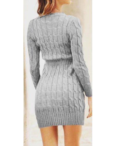 Rochie de zi tricotata mulata gri Dione