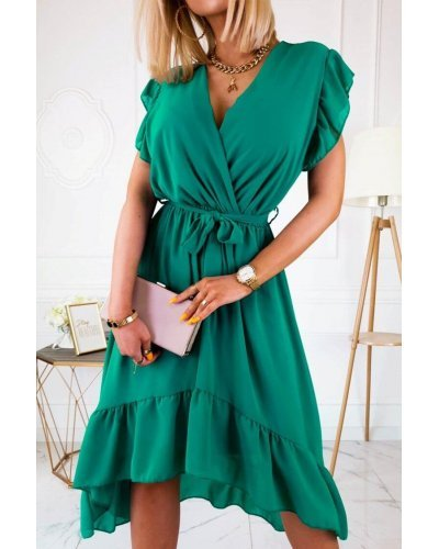 Rochie de zi vaporoasa asimetrica verde Jacky
