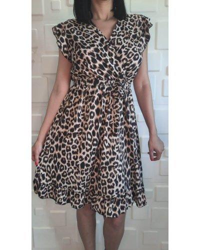 Rochie eleganta de zi leopard print midi in clos Erin